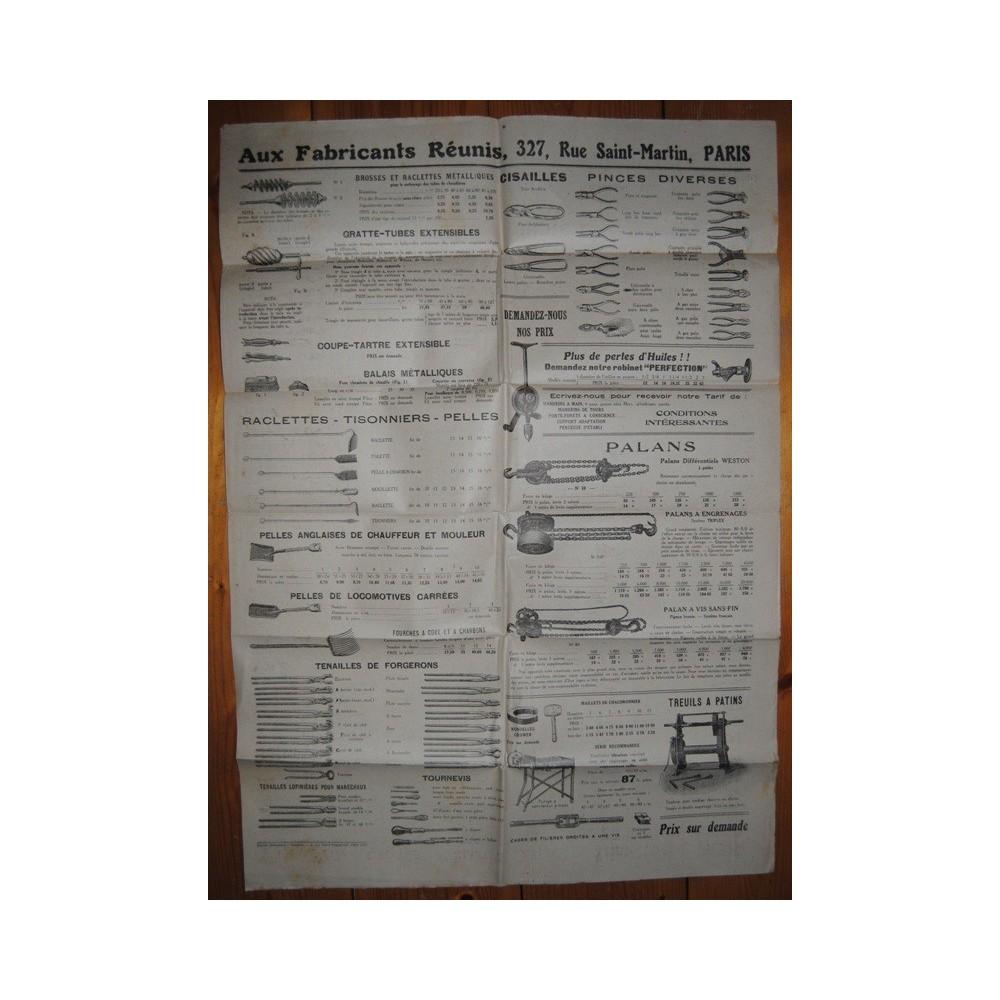 tarif 1922 aux fabricants reunis outillage machines. Black Bedroom Furniture Sets. Home Design Ideas