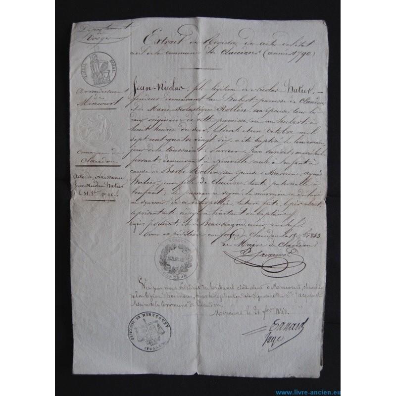 acte de naissance 1843 d partement des vosges commune de claudon ar mirecourt. Black Bedroom Furniture Sets. Home Design Ideas