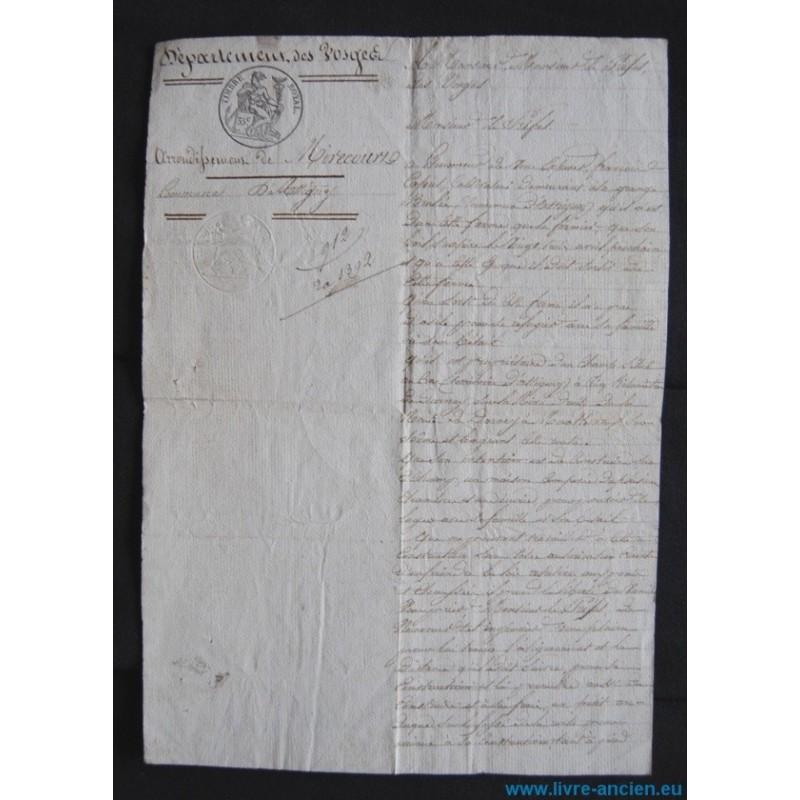 Demande permis de construire 1846 commune d 39 attigny for Papier pour permis de construire