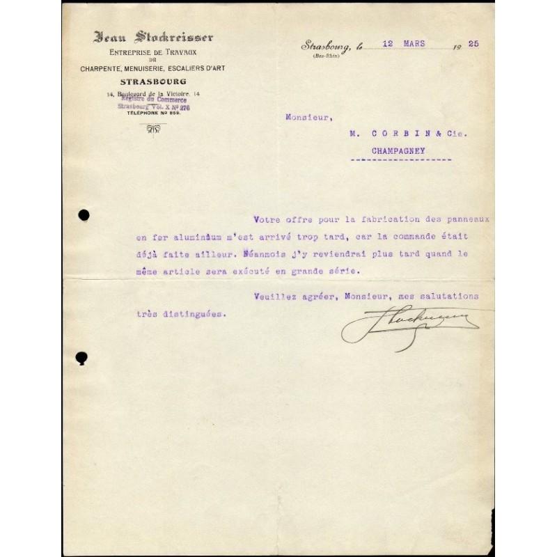 facture 1925 jean stockreisser strasbourg travaux de charpente menuiserie. Black Bedroom Furniture Sets. Home Design Ideas